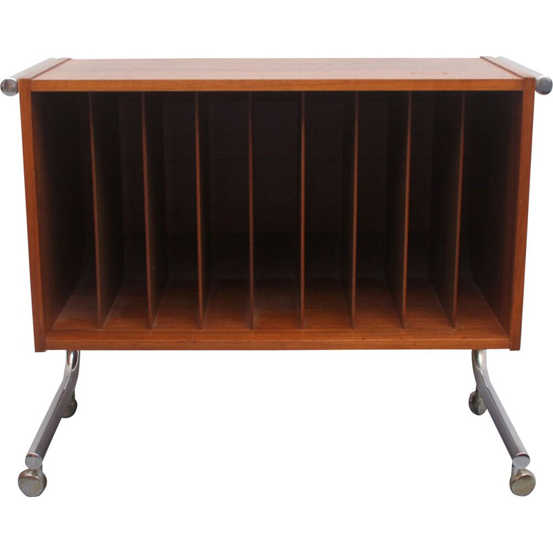 Vintage rosewood and chrome record trolley, 1970