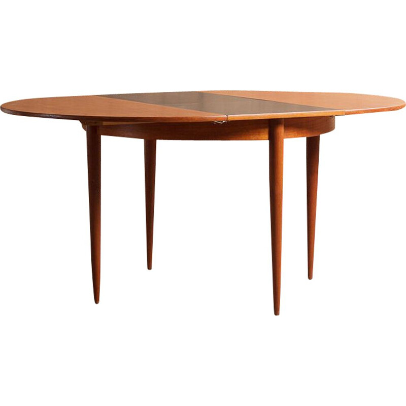 Vintage round teak table with black central extension