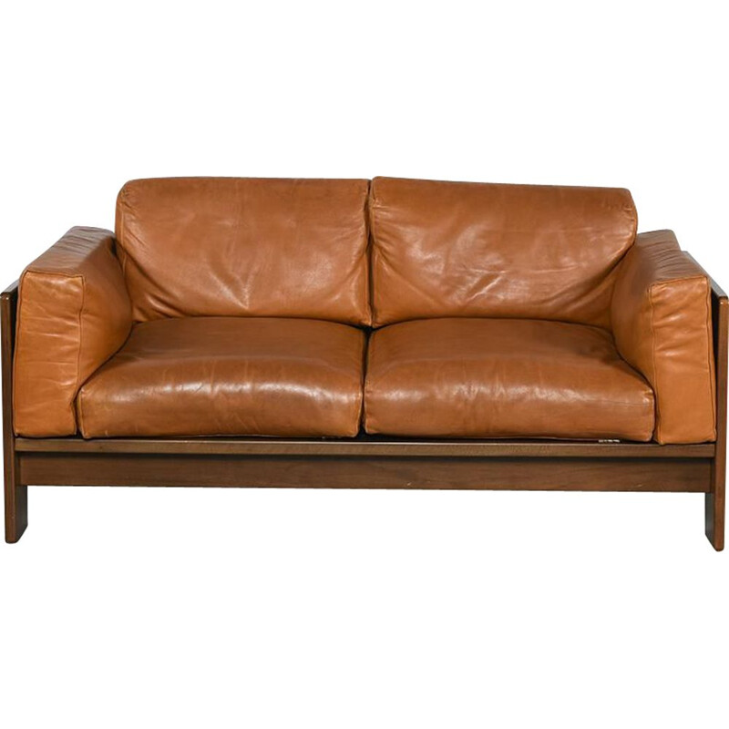 Vintage Bastiano sofa in rosewood and cognac leather by Afra and Tobia Scarpa