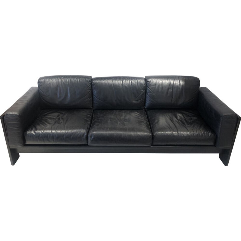 """Vintage """"Bastiano"""" 3 seater sofa in black leather by Tobia Scarpa for Knoll, Italy 1960"""