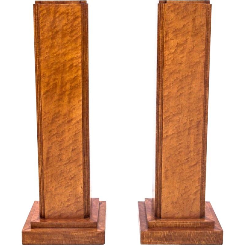 Pair of vintage walnut plinths with flower carving, Art Deco