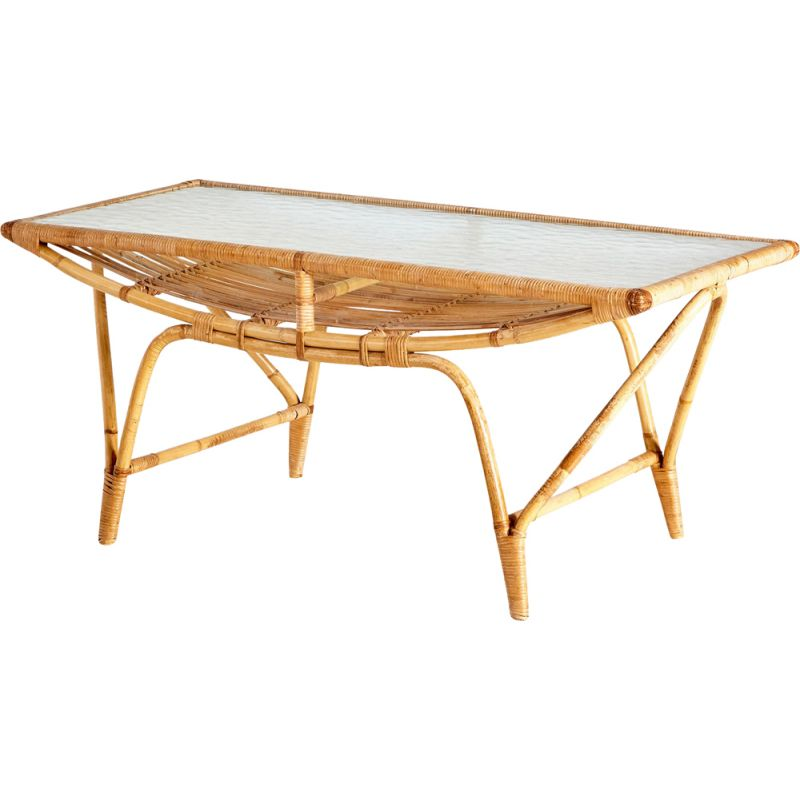 Vintage bamboo and glass coffee table
