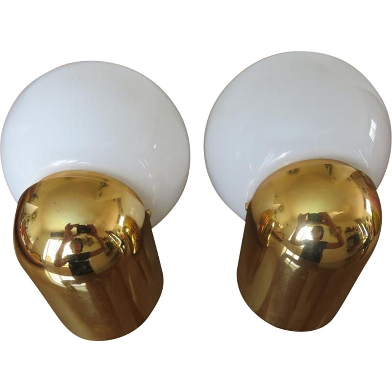 Pair of vintage Limburg sconces in opaline and gold methacrylate, 1980