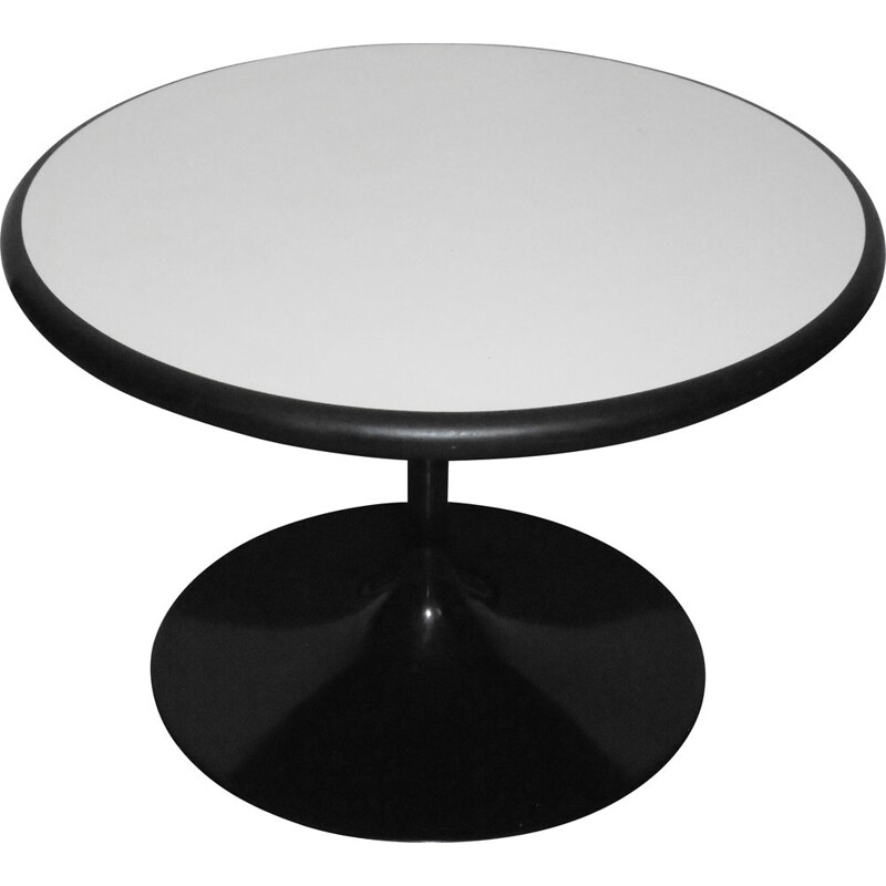 Round vintage coffee table with double-sided top and tulip base, 1970s