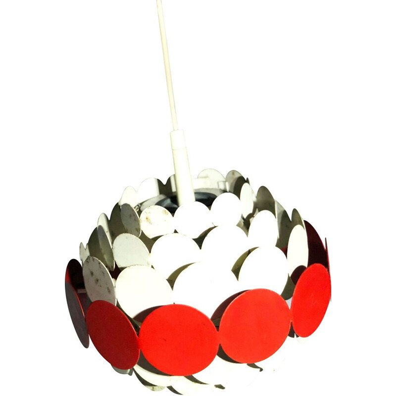 Vintage white and red metal pendant lamp, 1960s