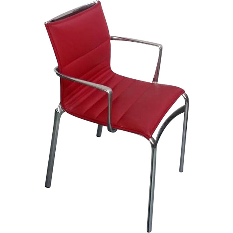 Vintage Highframe armchair in red leather by Alberto Meda for Alias
