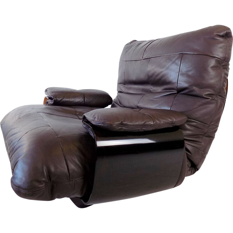 Marsala brown leather vintage armchair by Michel Ducaroy for Ligne Roset, 1970s