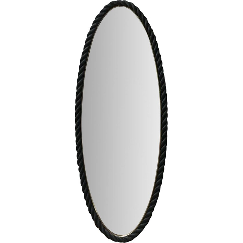 Oval mid-century rope mirror by Audoux-Minet, France 1960s