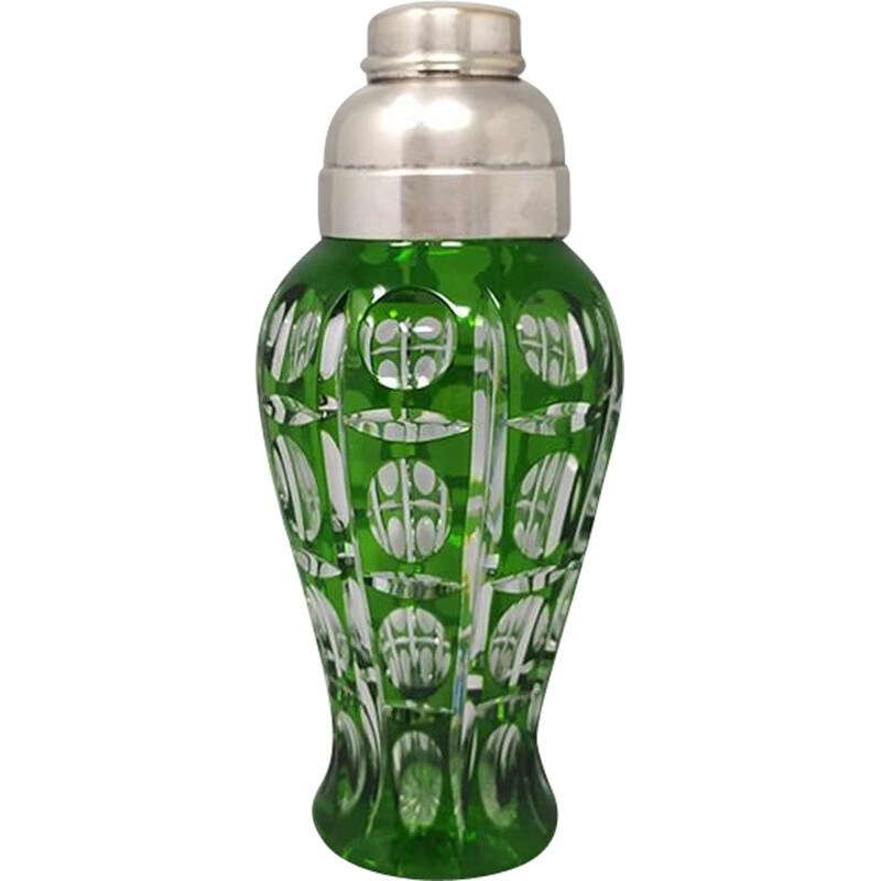 Vintage green bohemian cut crystal cocktail shaker, Italy 1960s
