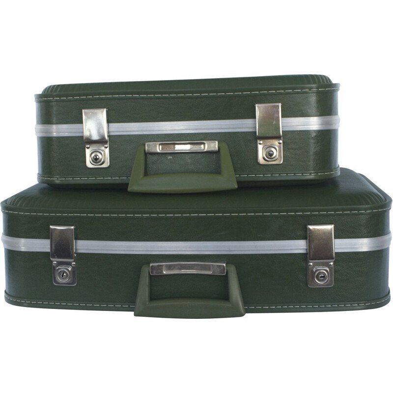 Pair of vintage suitcase green with key for Oldtimer, 1960s