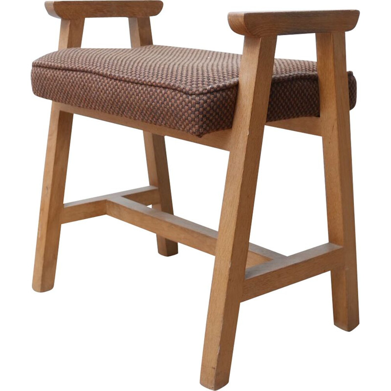 Mid-century French oakwood stool by Guillerme et Chambron, 1960s
