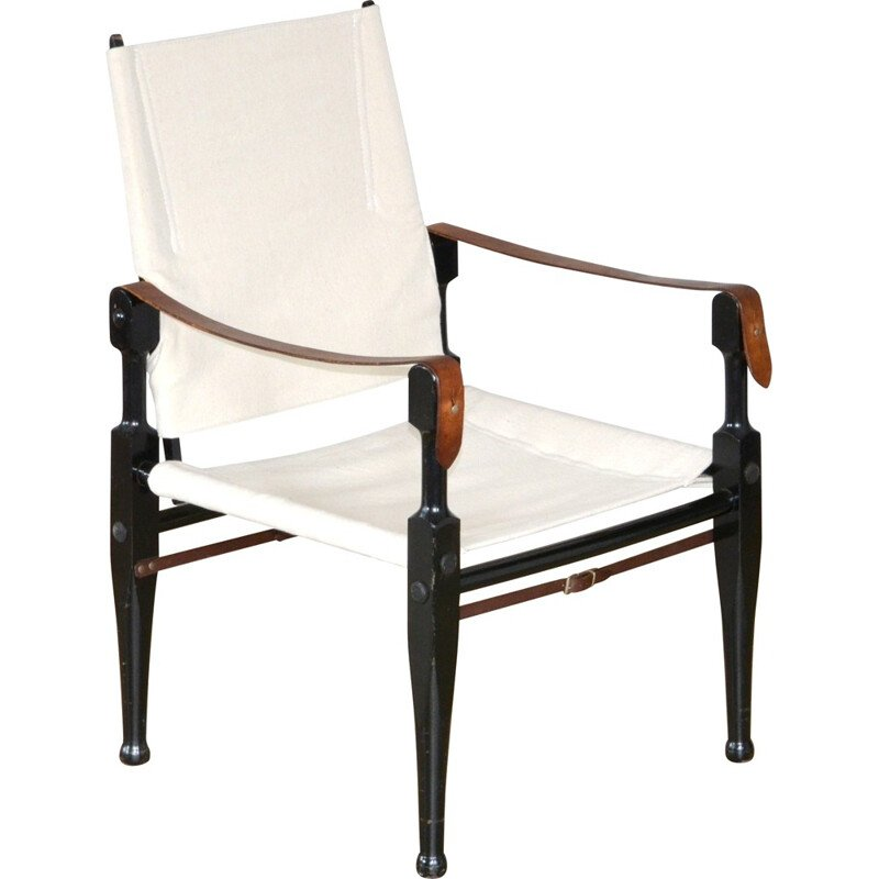 "Wohnbedarf ""Safari"" armchair in white fabric and black lacquered wood par Wilhelm Kienzle - 1950s"