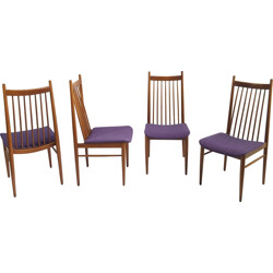 Set of 4 Scandinavian dining chairs in solid teak - 1960s