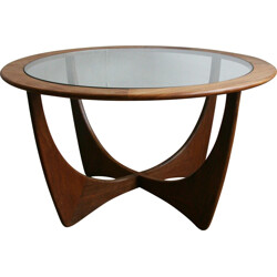 """""""Astro"""" coffee table in teka and glass, Victor WILKINS - 1960s"""