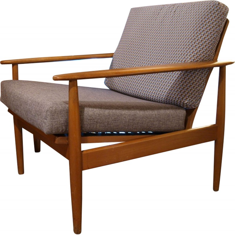Nice Scandinavian Armchair In Solid Wood And Grey Fabric 1960s