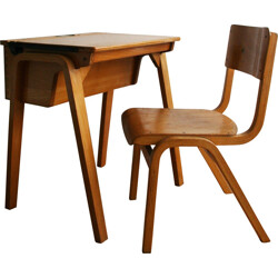 Child desk and its chair in wood - 1960s