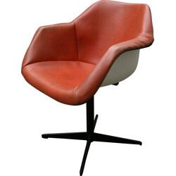English Hille armchair in orange leatherette and metal, Robin DAY - 1960s