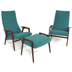 "Pair of ""Ruster"" armchairs and one footrest, Yngve EKSTRÖM - 1960s"