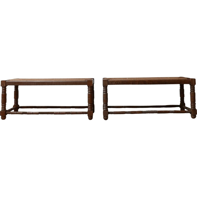 Pair of vintage Art Deco woven rush wooden benches by Charles Dudouyt, France 1930s