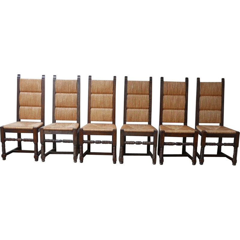 Set of 6 mid-century rush dining chairs by Charles Dudouyt, France 1950s