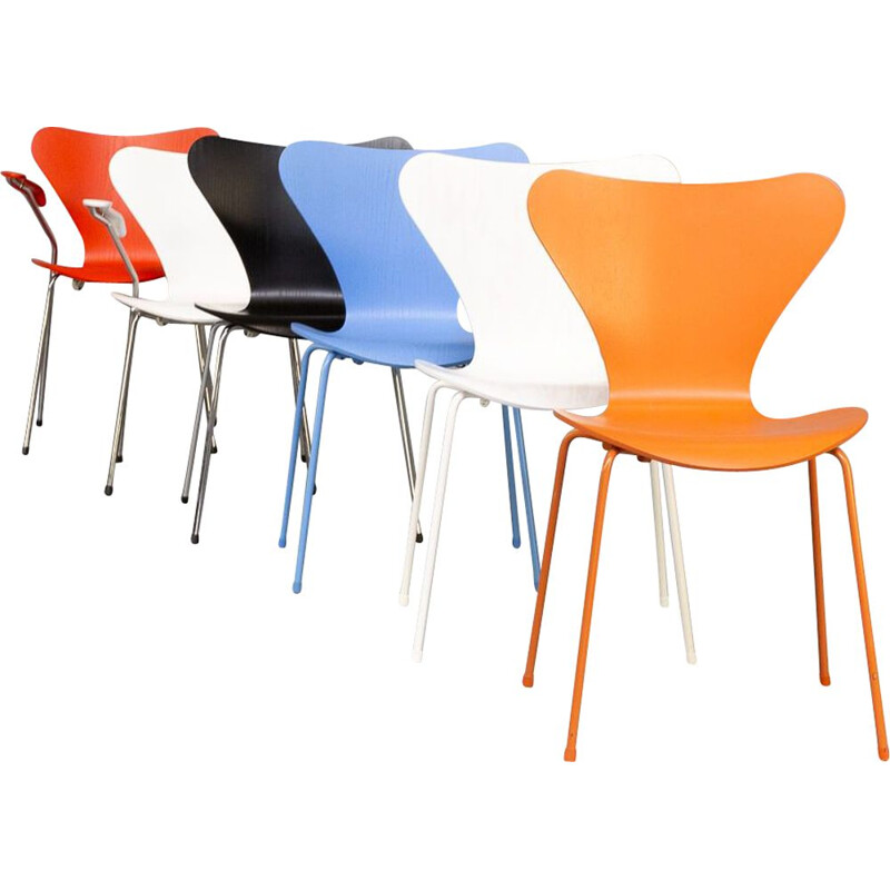 Set of 6 vintage chairs by Arne Jacobsen for Fritz Hansen, 1955