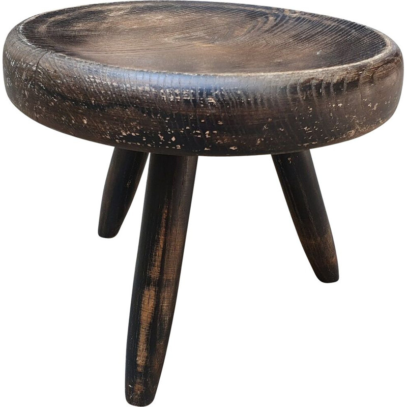 Vintage Berger stool in blackened ashwood by Charlotte Perriand, 1959