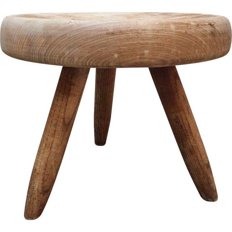 Vintage Berger stool in ashwood by Charlotte Perriand, 1959