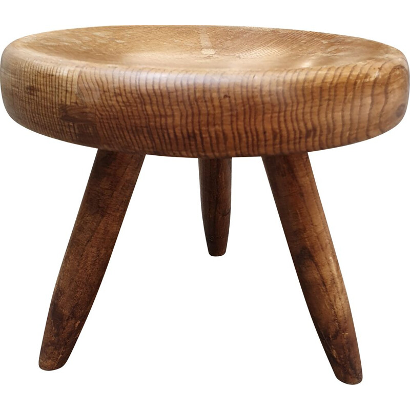 Vintage low stool called Berger in light ashwood by Charlotte Perriand, 1959
