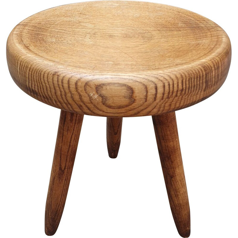 Vintage Berger high stool in ashwood by Charlotte Perriand, 1959