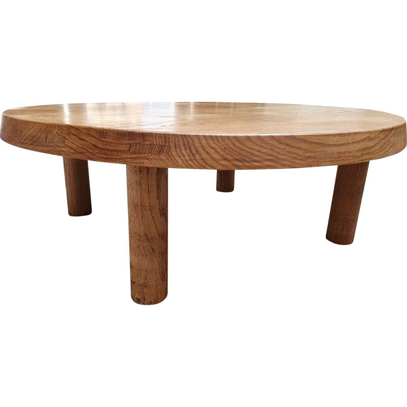 Vintage T02M coffee table in solid elmwood by Pierre Chapo, 1970