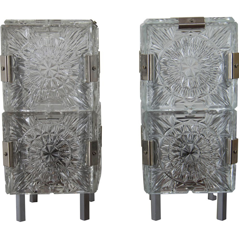 Pair of vintage glass table lamps by Kamenicky Senov, 1970s