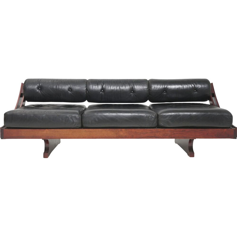 Mid century rosewood and black leather daybed model GS-195 by Gianni Songia for Sormani, Italy 1963