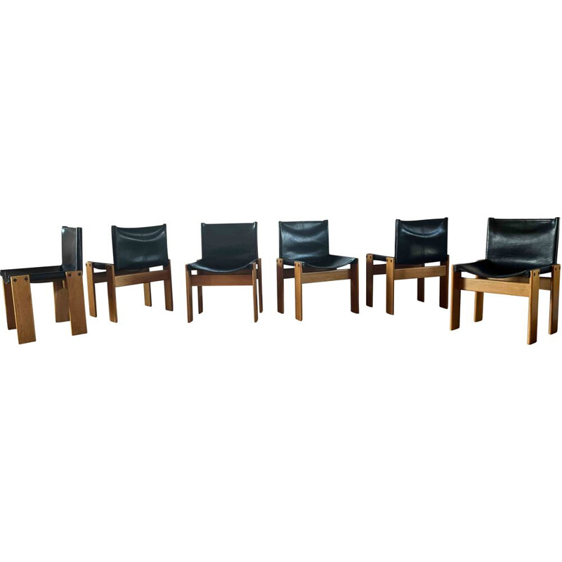 Set of 6 vintage beechwood and black leather chairs by Afra & Tobia Scarpa, Italy 1973