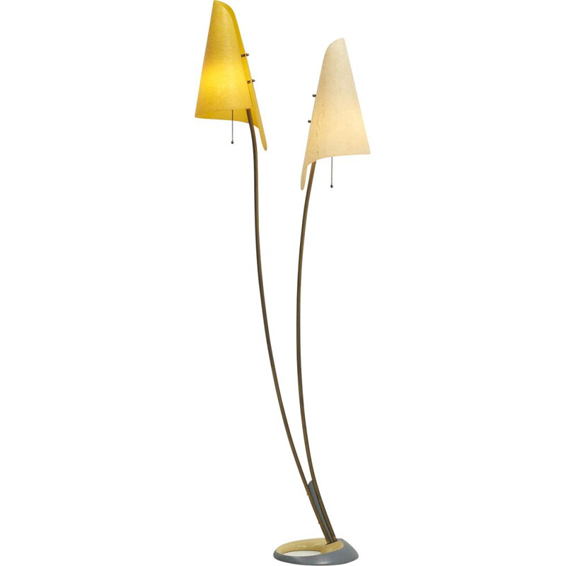 Mid century floor lamp with 2 lampshades, 1950s