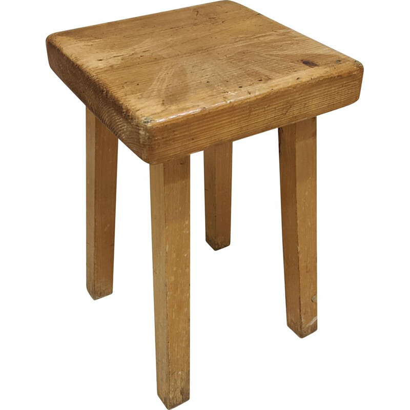 Vintage stool in pine wood by Charlotte Perriand for Les Arcs 1800, 1960