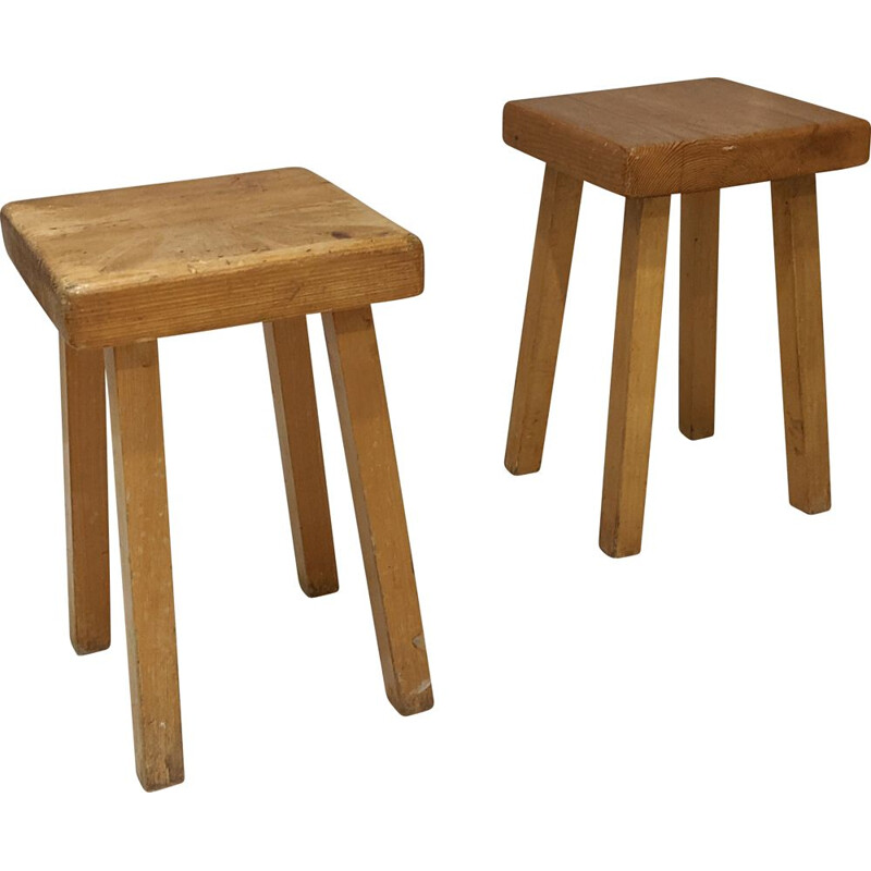 Pair of vintage stools by Charlotte Perriand for Les Arcs 1800, 1960
