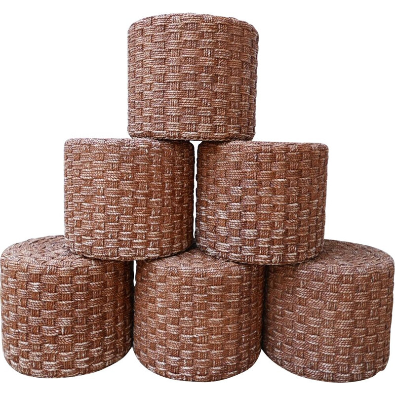 Set of 6 mid-century rope poufs, France 1960s