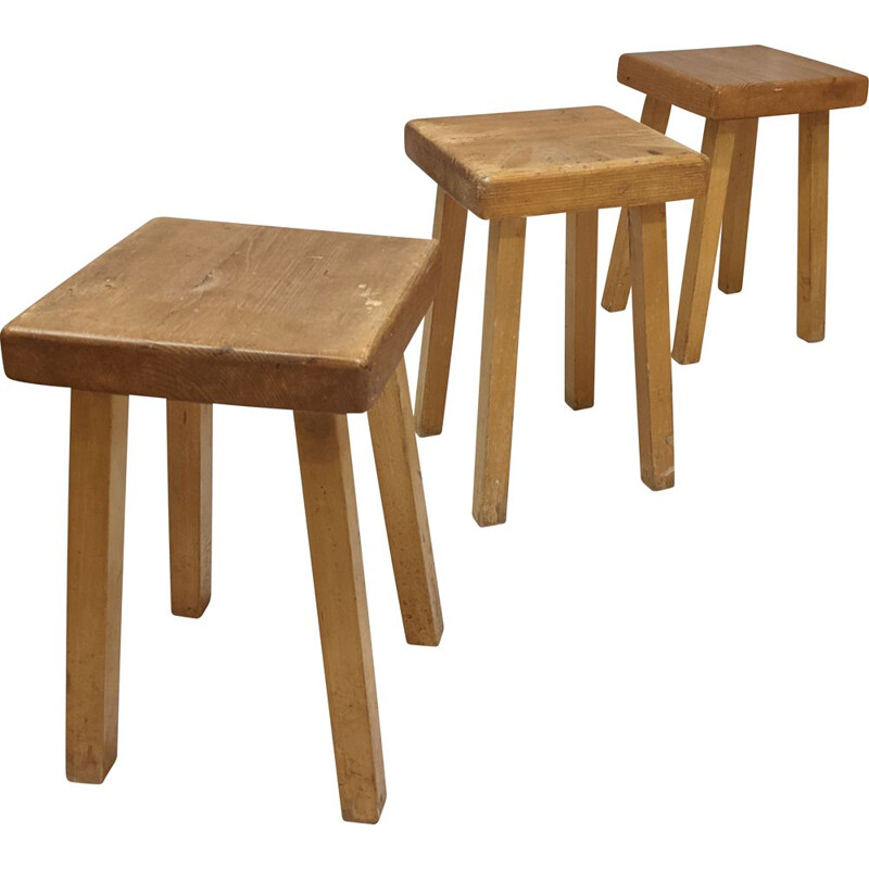 Set of 3 vintage pine stools by Charlotte Perriand for Les Arcs 1800, 1960