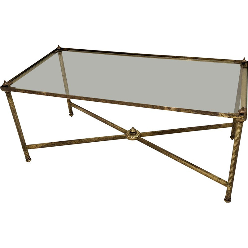 Vintage brass and glass coffee table by Maison Jansen, 1970