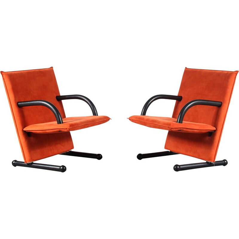 Pair of vintage T-Line armchairs by Burkhard Vogtherr for Arflex, Italy 1980
