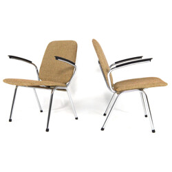 Pair of Gispen chairs in metal and fabric - 1950s