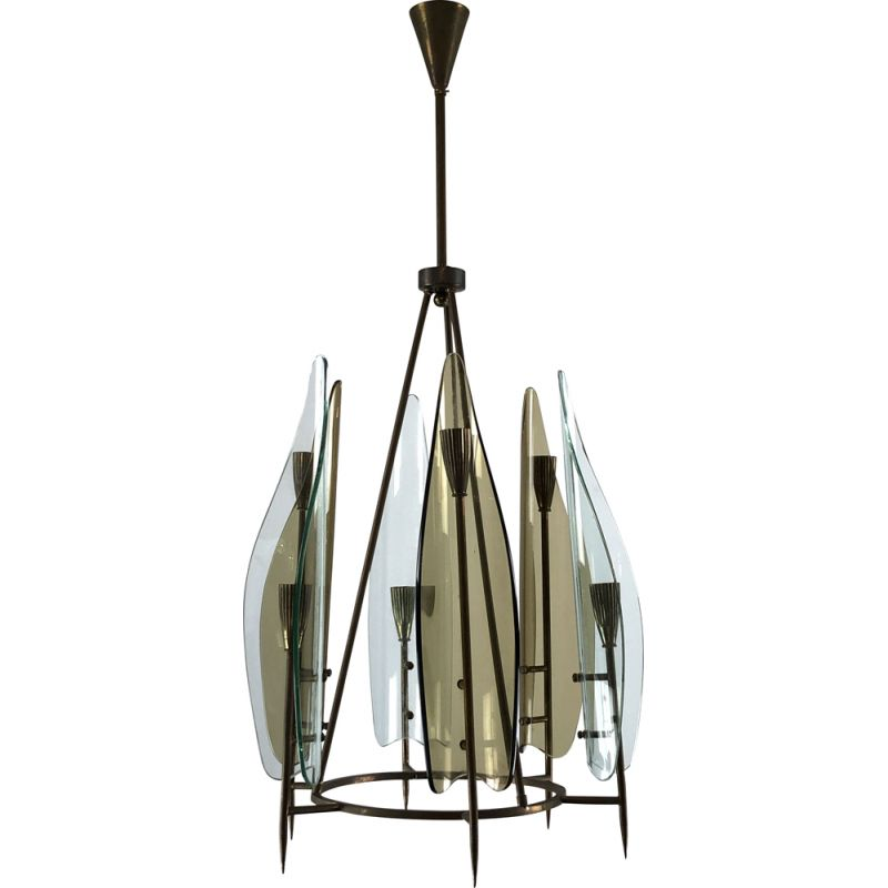 Vintage brass and curved glass chandelier by Cristal Art, Italy 1950
