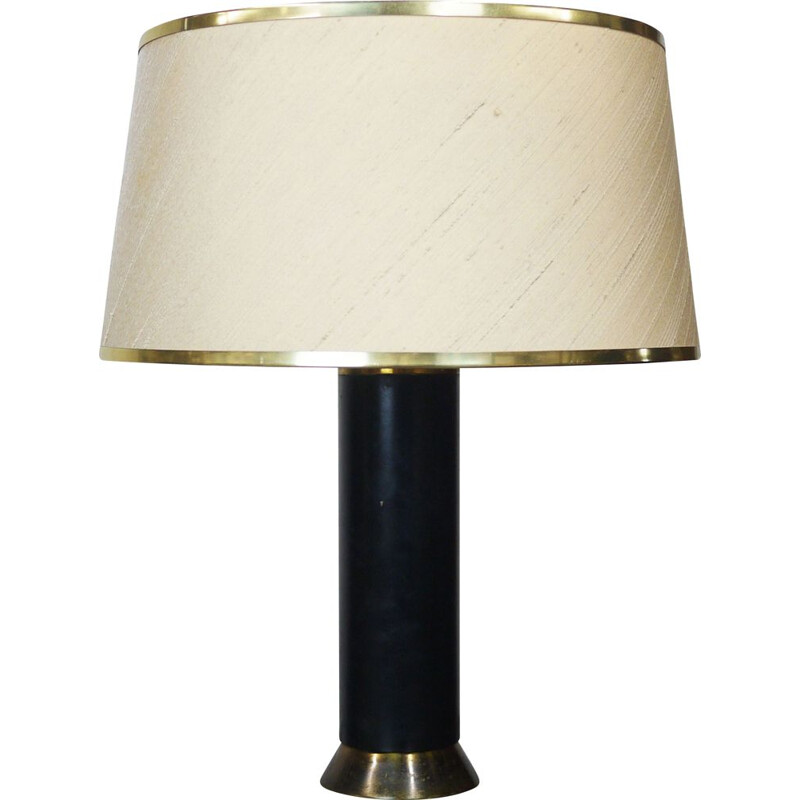 Vintage black and gold table lamp, 1950
