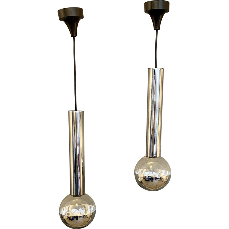 Pair of vintage pendant lamps by Motoko Ishi for Staff, 1970