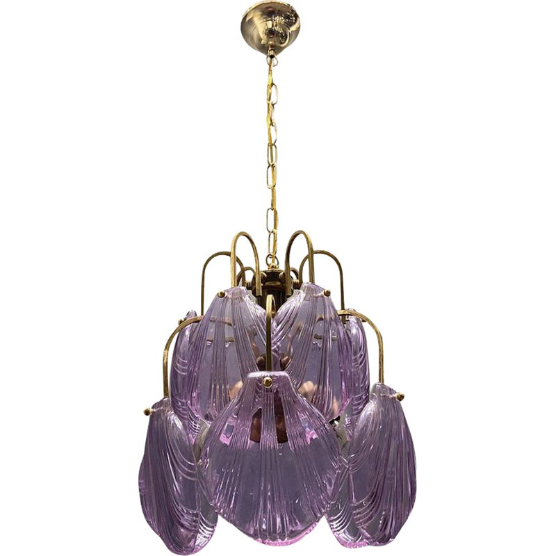Vintage glass shell chandelier, 1970s