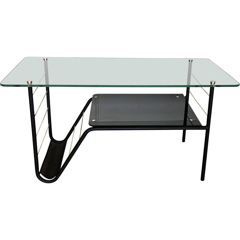 Mid century glass and metal coffee table by Pierre Guariche, 1970