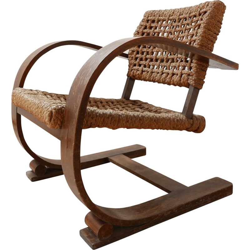 Rope mid-century bentwood armchair by Audoux-Minet, France 1960s