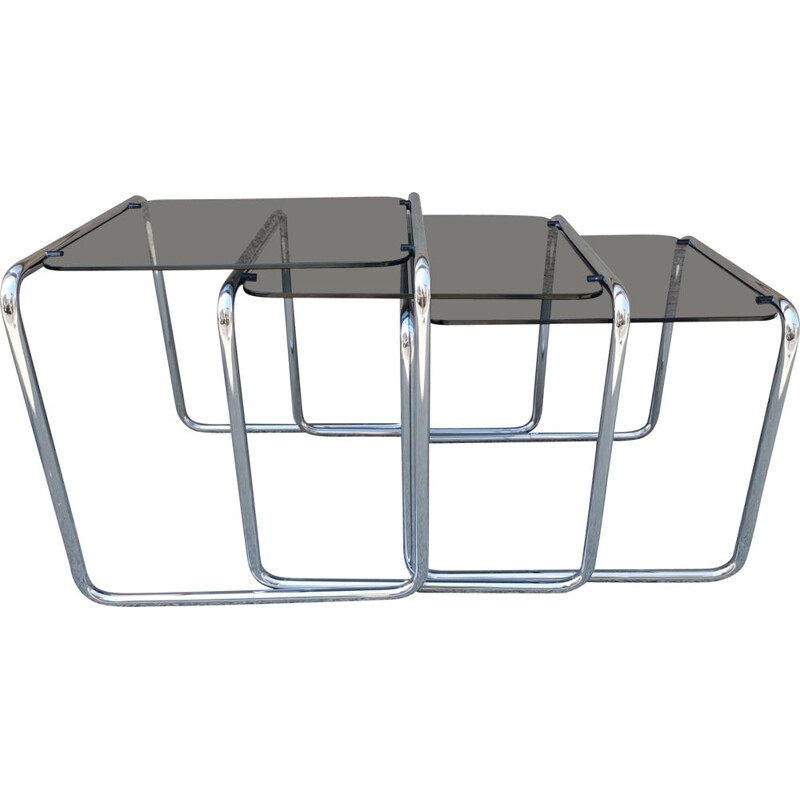 Vintage chrome and glass nesting tables, 1980
