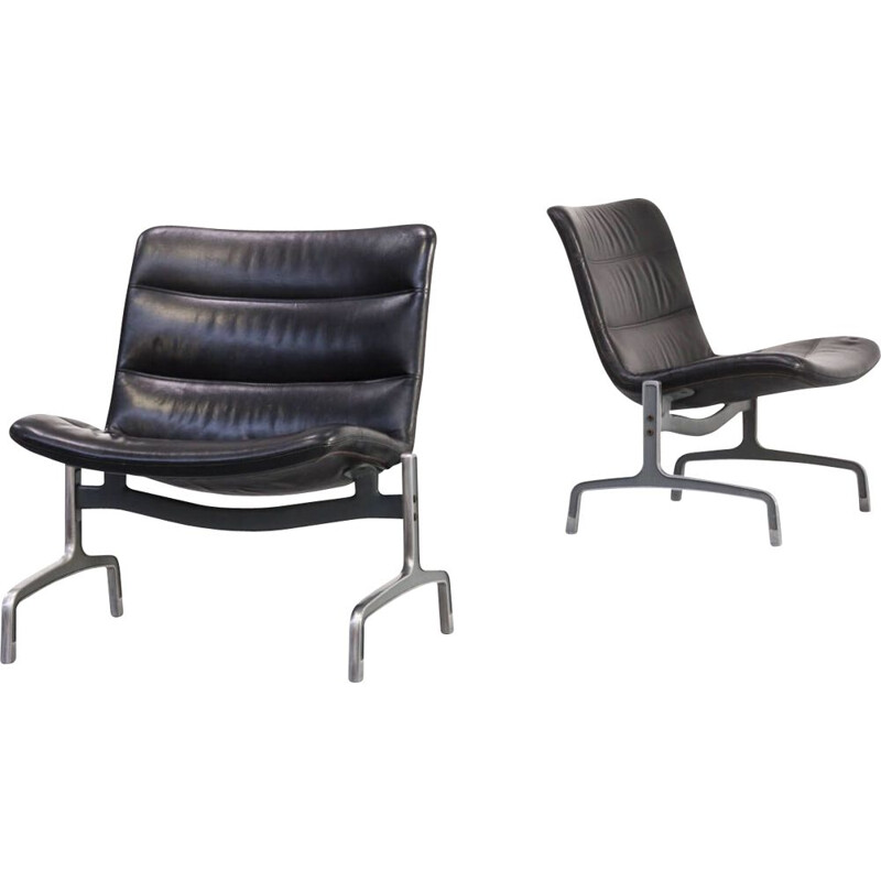 Pair of vintage serie 8000 armchairs by Jørgen Kastholm for Kusch & Co, 1970s