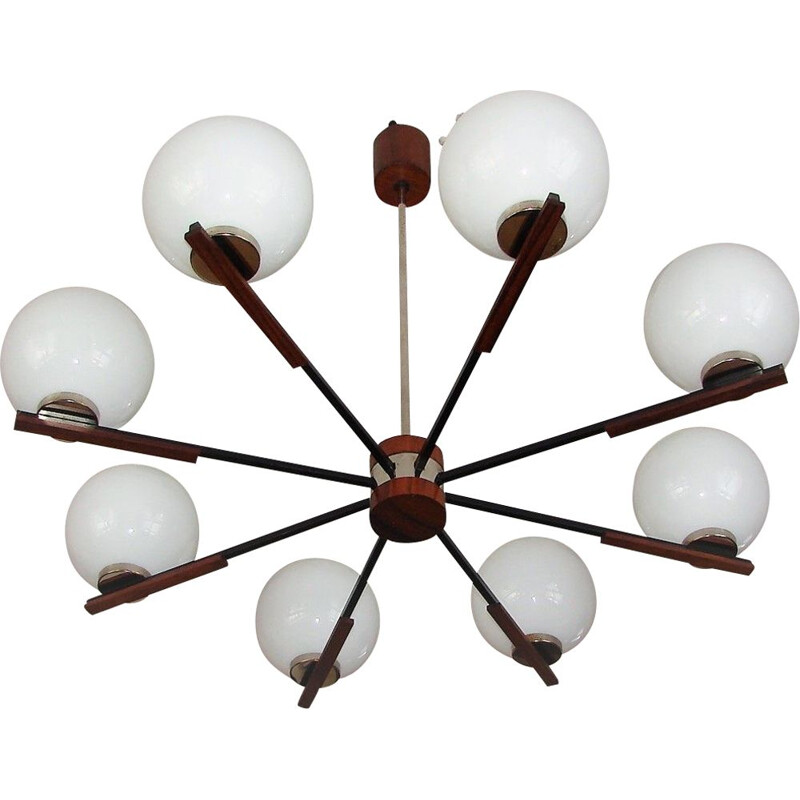 Danish mid century rosewood and glass chandelier, 1960s